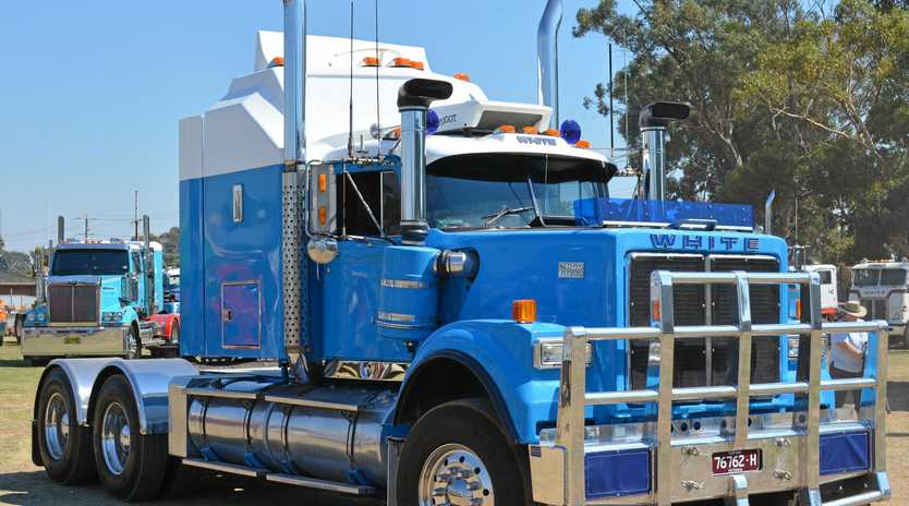 WHAT A COOL TRUCK: Dave Patterson's 1980 White Road Boss arrives in Kyabram.
