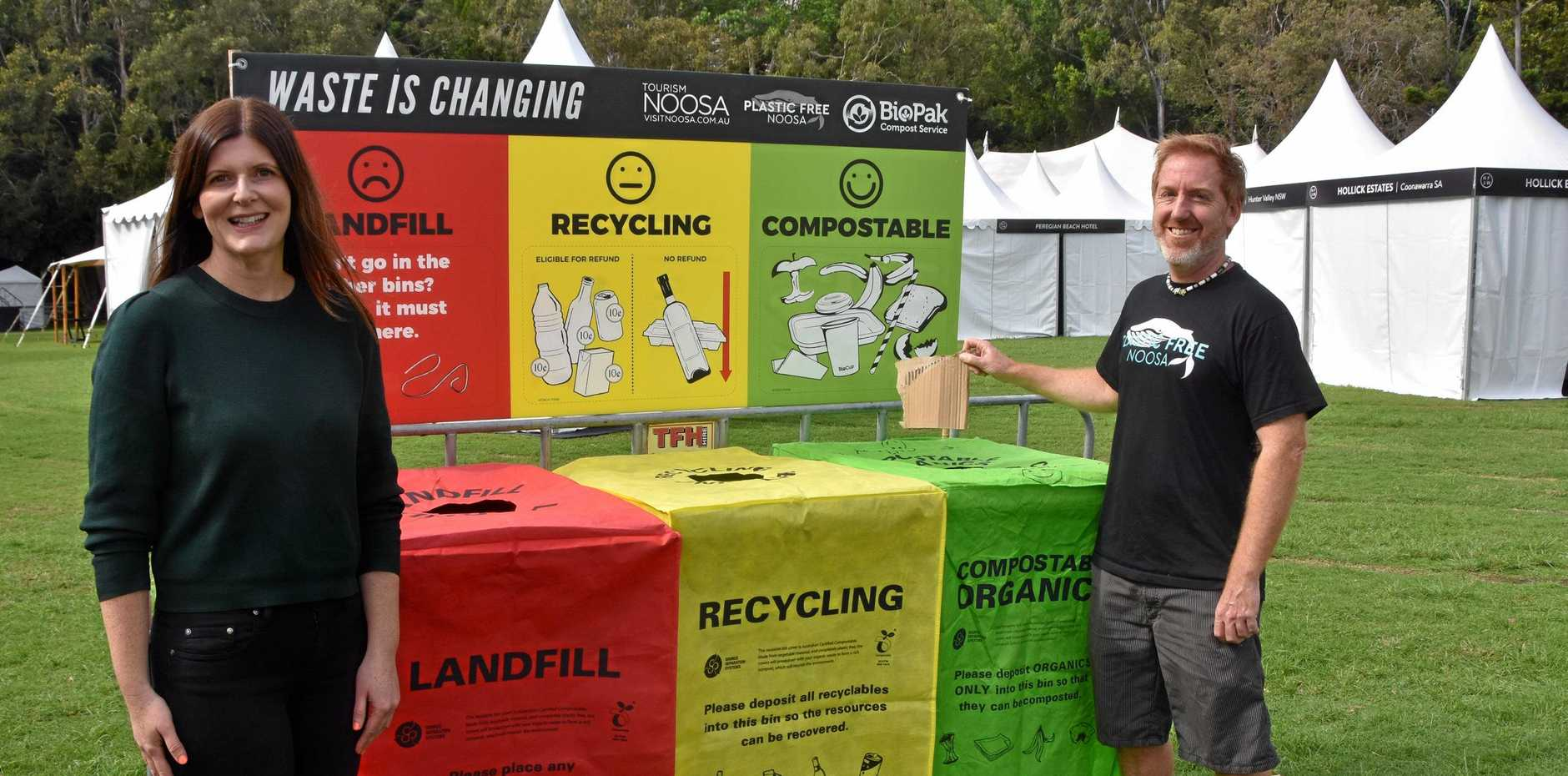 ZERO WASTE: Noosa Food and Wine Festival director Sheridah Puttick and Plastic Free Noosa's Chad Buxton are encouraging a sustainable event this year.