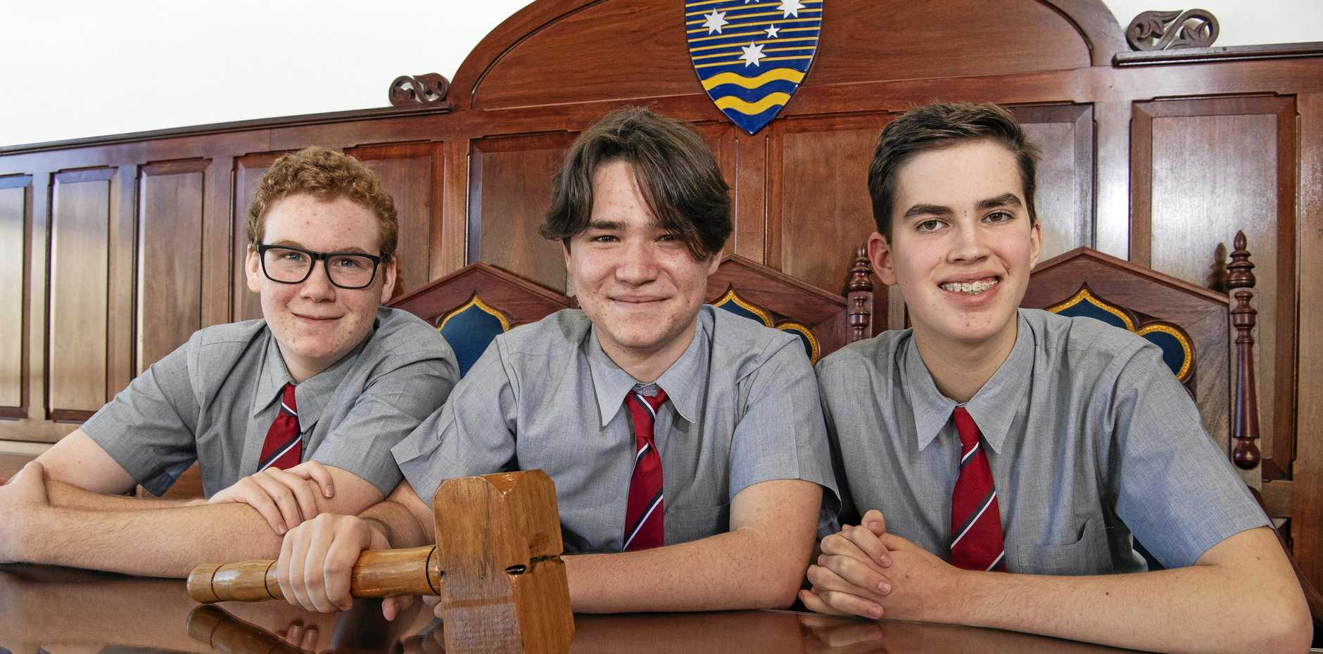 MOOT: Whitsunday Anglican School students Bryce Casey, Gabriel Horan and Benjamin Mizen.