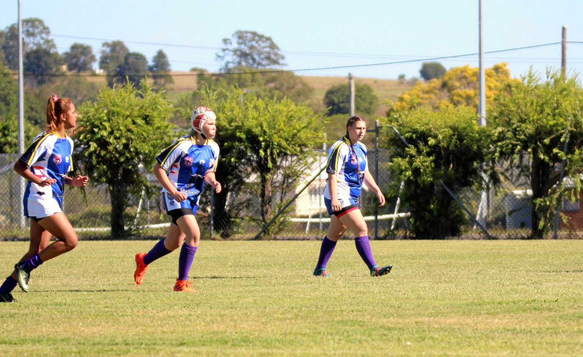 Central Burnett Brumbies player Ruby Cuthbertson (centre) playing for South Burnett U17 girls' Eagles at the 47th Battalion Carnival in Murgon last weekend.