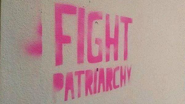 Graffiti spruiking fighting the patriarchy.