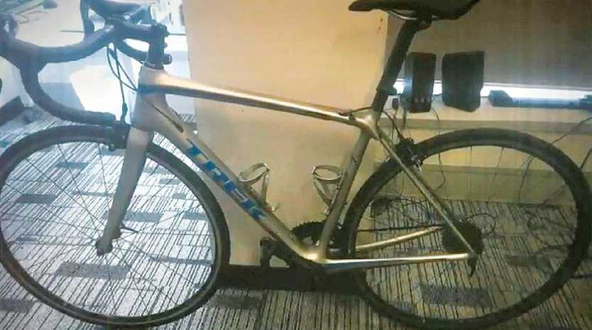 The silver Trek bike as photographed by Crime and Corruption Commission officers in early 2018.