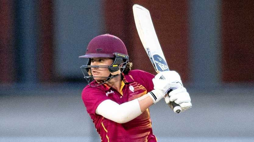 IN ACTION: Lily Mills playing for the Qld under-18 side. She has signed with the Queensland Fire national league squad.