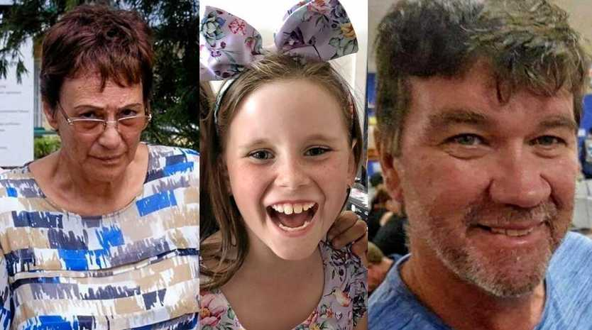 FATAL CRASH: Leona Pauline Paraha (left), 69, fatally injured Olivia Douglas (centre), 8, and Shane Old (right), 52, when she veered into oncoming traffic on the Bruce Highway south of Childers.