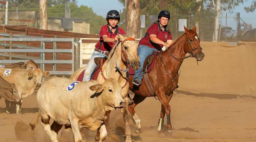 Georgina Blach and Meg Wernecke at this year's South Burnett School Equestrian Competition.