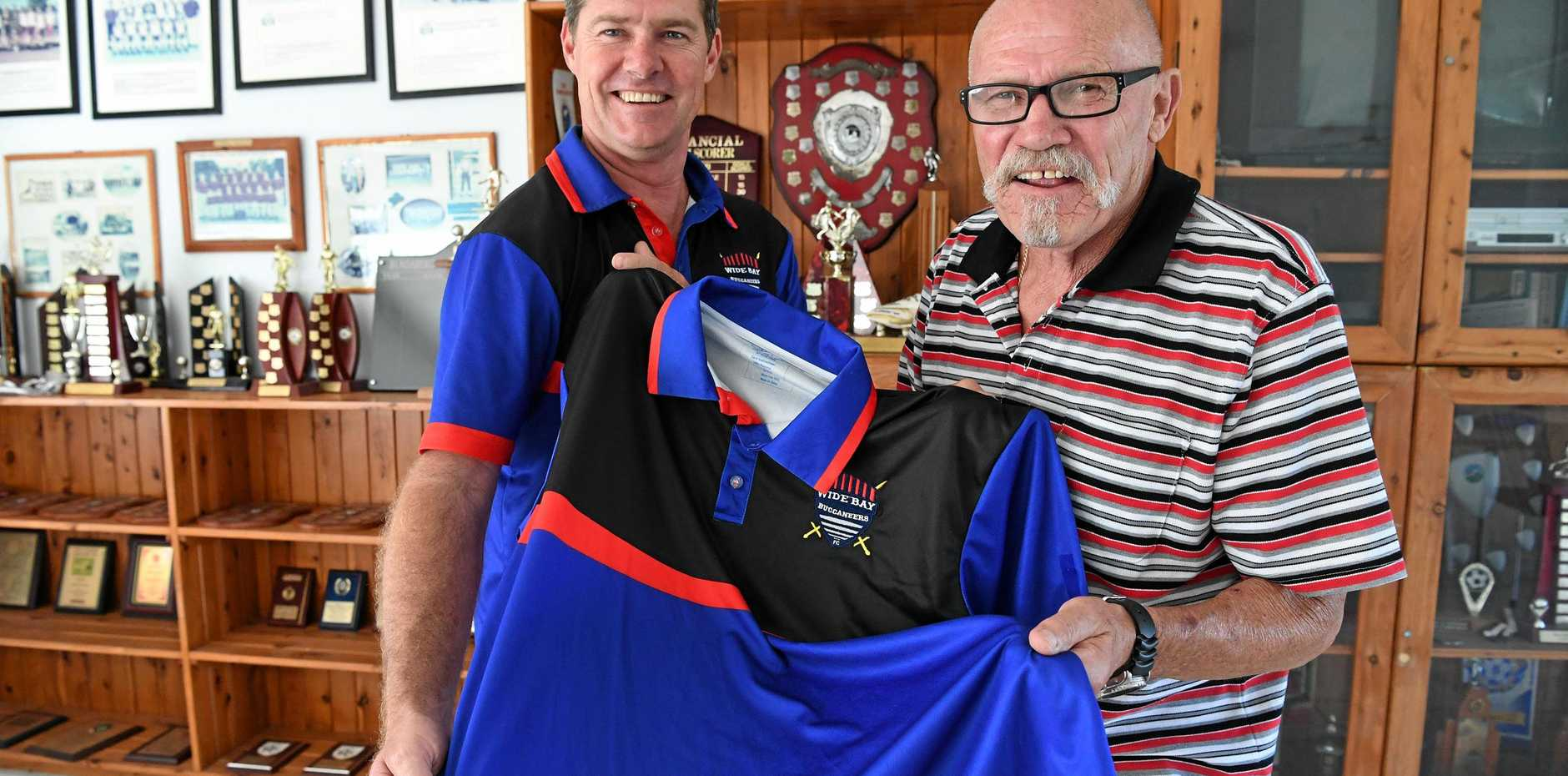 NO MORE:  Wide Bay Buccaneers coach Karl Herdle with Peter Guest (left). Herdle resigned today.