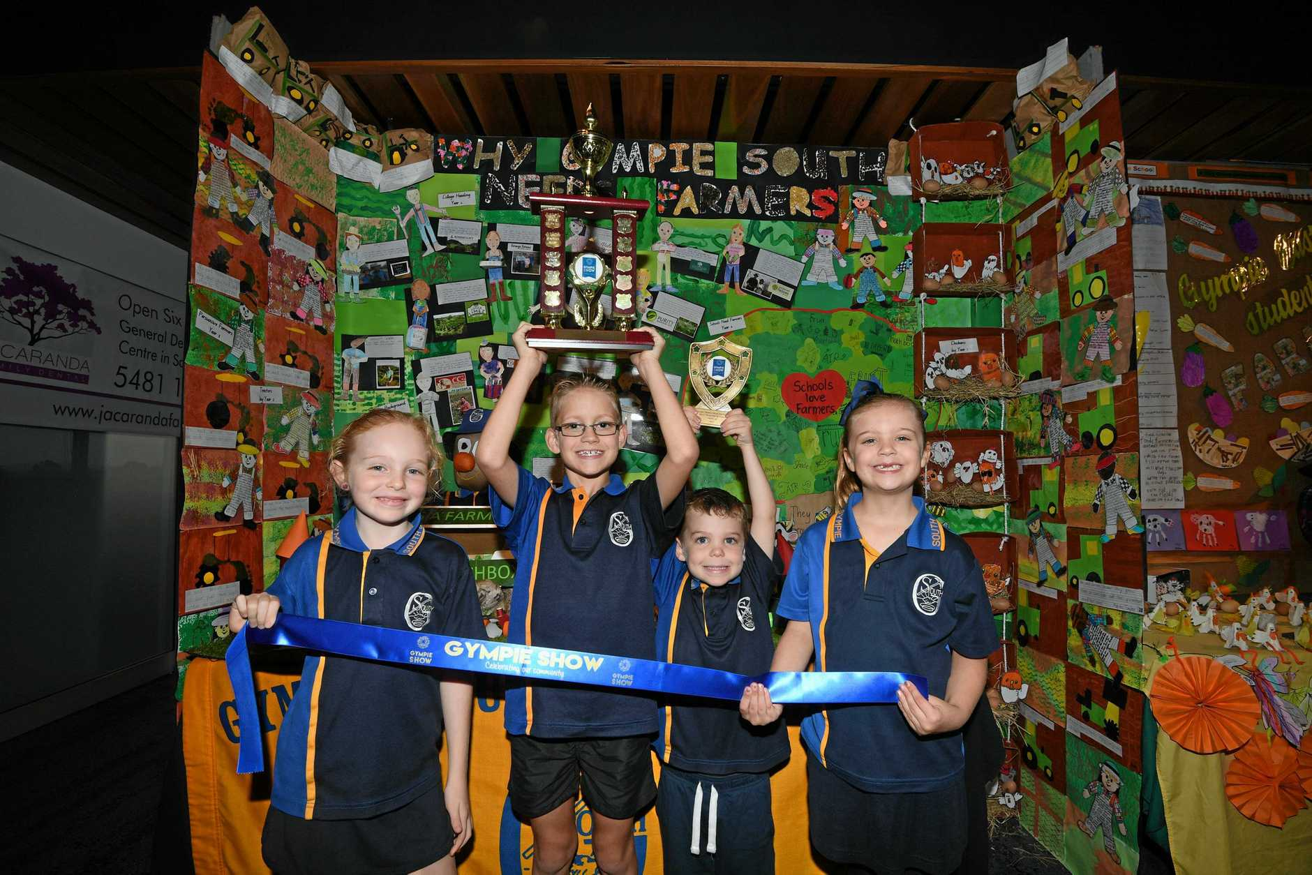 WINNERS: Gympie South School students Ashlee Taylor, Xander Neal, Coen Taylor, Skyla Neal had plenty to smile about at the Gympie Show yesterday.