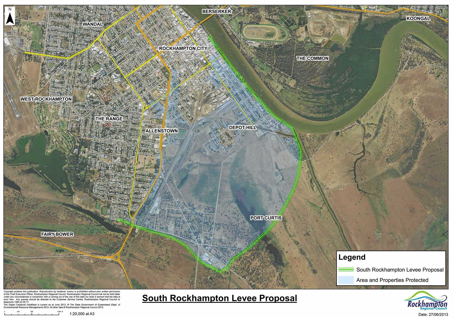 The proposed South Rockhampton Flood Levee.