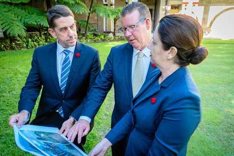 LEVEE READY: Queensland MP Cameron Dick, Rockhampton MP Barry O'Rourke and Premier Annastacia Palaszczuk.