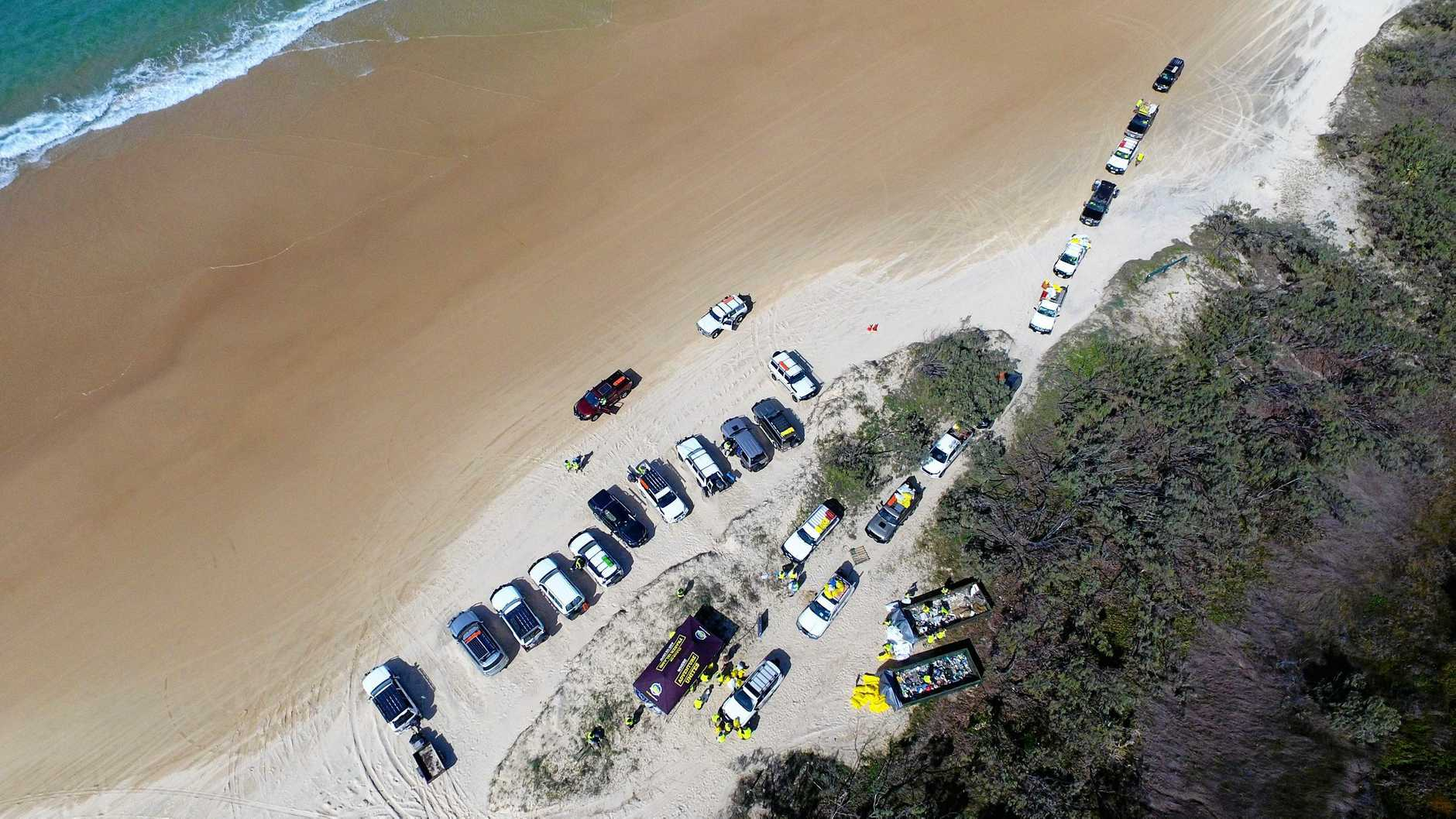 Aerial view of the rubbish collection at the Fraser Island 4WD clean-up 2019 on the weekend.