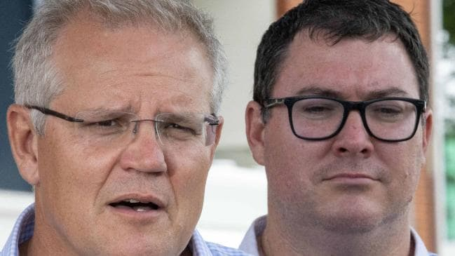 Prime Minister Scott Morrison and Member for Dawson George Christensen. Picture: Glenn Hunt/The Australian
