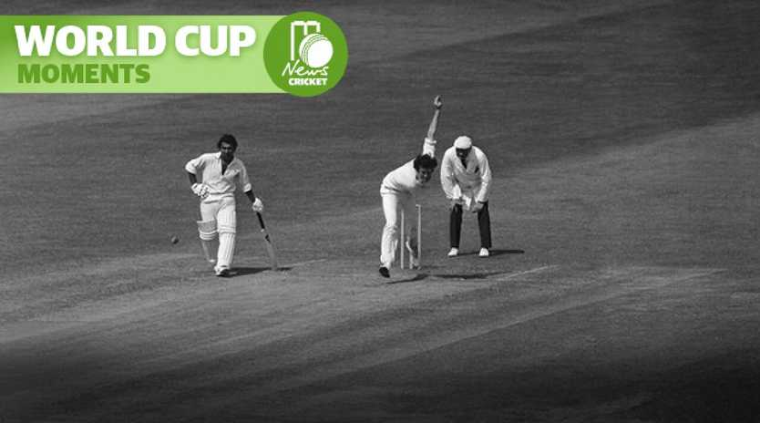 Sunil Gavaskar watches from the safe end as England spearhead John Snow delivers.