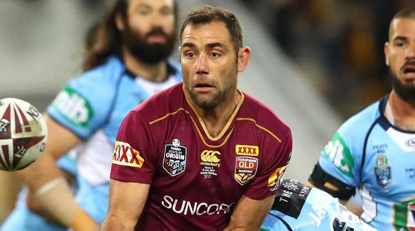BRISBANE, AUSTRALIA - JULY 12: Cameron Smith of the Maroons is tackled during game three of the State of Origin series between the Queensland Maroons and the New South Wales Blues at Suncorp Stadium on July 12, 2017 in Brisbane, Australia. (Photo by Cameron Spencer/Getty Images)