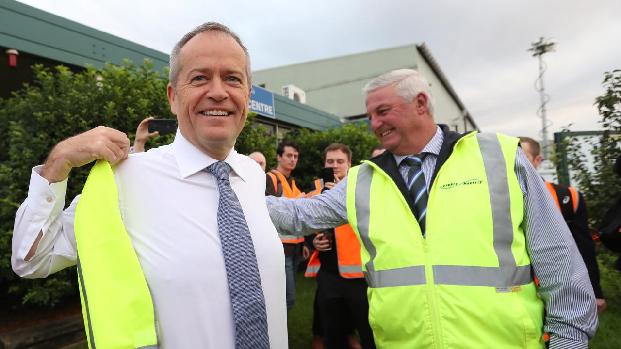 Shorten visiting the Sydney Markets at Homebush. Picture: Kym Smith