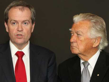 Former Prime Minister Bob Hawke with Bill Shorten. Picture: Supplied