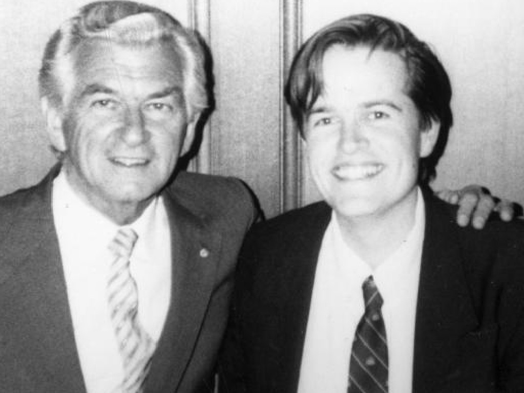 Prime Minister Bob Hawke with a young Bill Shorten. Picture: Supplied