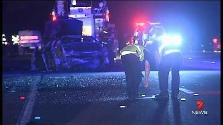 The scene of the fatal crash that killed five people in Coomera in December 2012. Picture: Channel 7