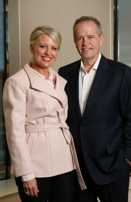 Shorten and wife Chloe on the campaign trail in Melbourne. Picture: Liam Kidston