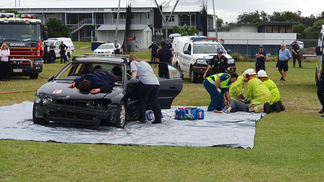 Students were confronted with a mock car crash at Ormeau Woods High School.