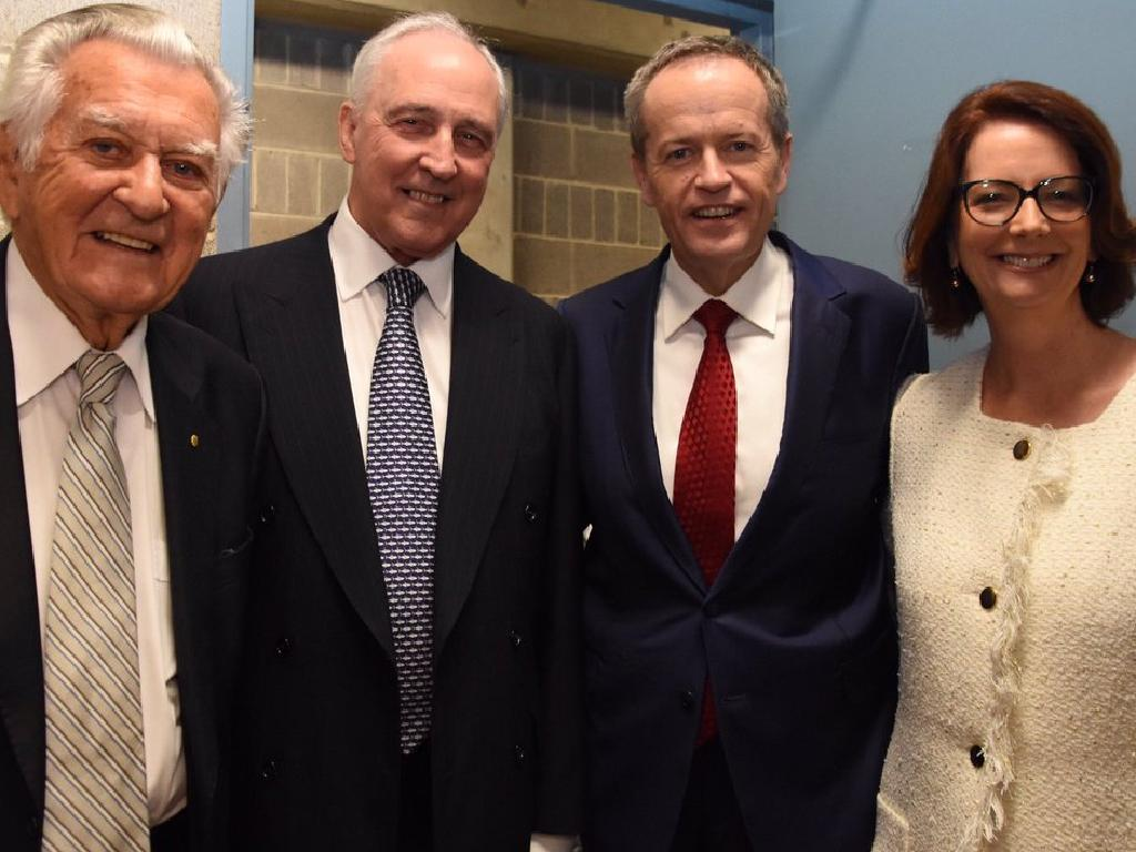 Bob Hawke, Paul Keating, Bill Shorten and Julia Gillard in 2016. Picture: Supplied
