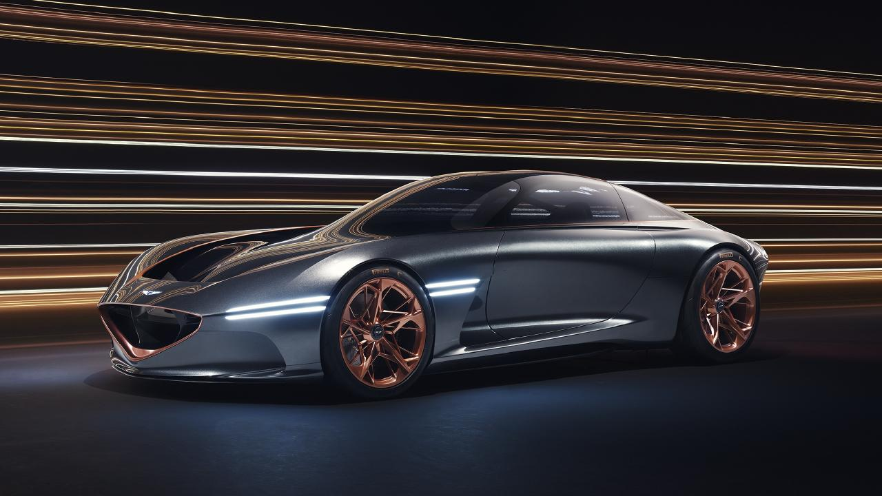 Copper highlights on the Genesis Essentia concept acknowledge its electric motors.