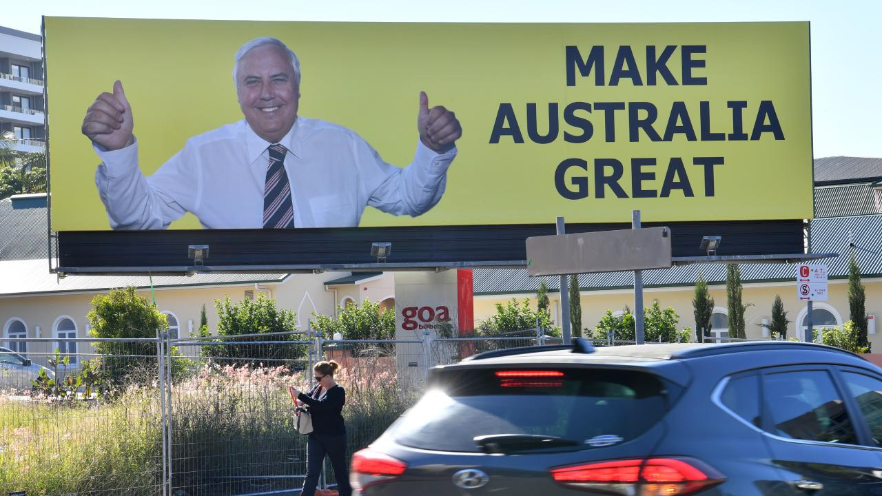A billboard featuring Clive Palmeron Vulture St in Woolloongabba. Picture: AAP/Darren England