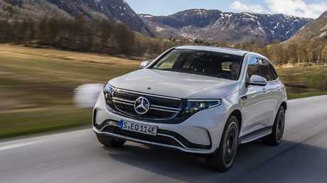 Mercedes-Benz's new EQC electric vehicle on the charge in Norway. Picture: Supplied.
