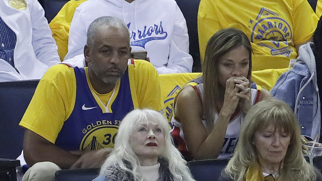 Dell and Sonya Curry watch their sons play in game one 1 of the NBA Western Conference finals. Picture: Jeff Chiu/AP