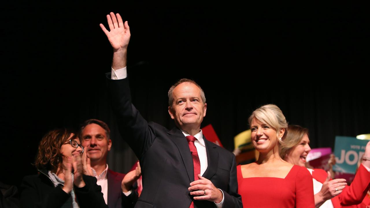 Bill Shorten with wife Chloe after a Labor party supporters rally in Melbourne. Picture: Kym Smith