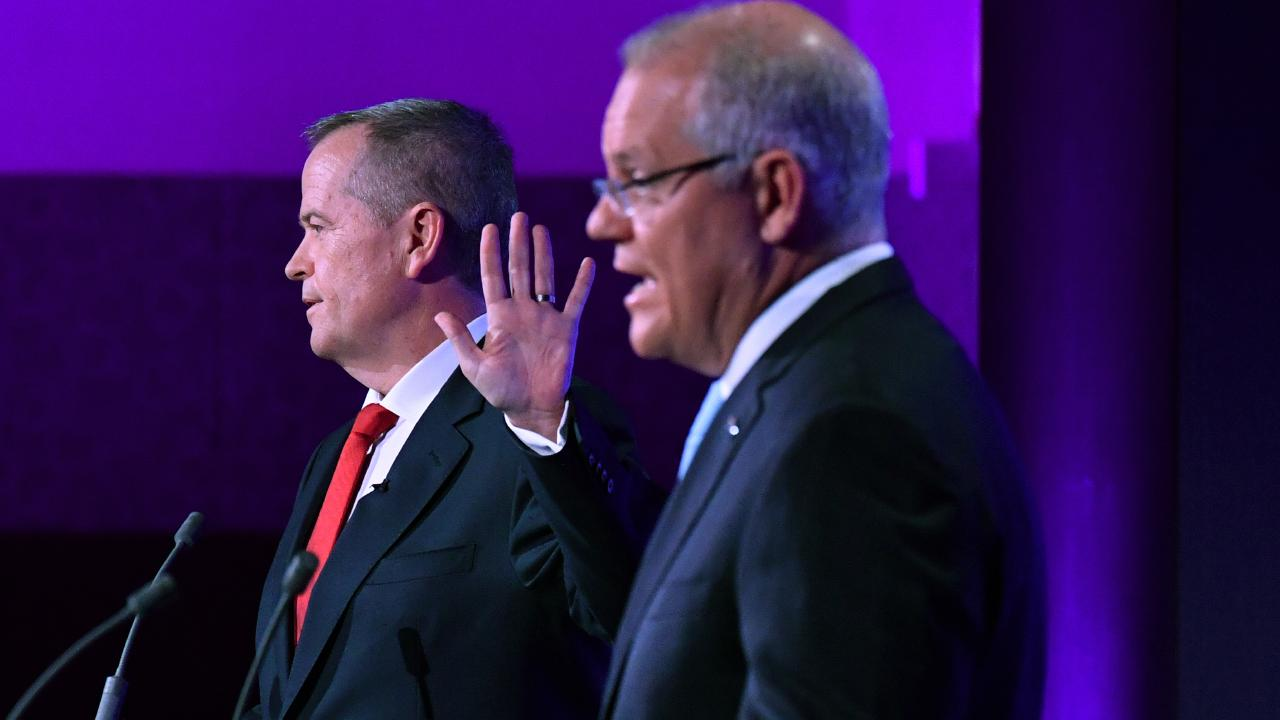 Opposition Leader Bill Shorten and Prime Minister Scott Morrison during a debate at the National Press Club on May 8. Picture: Mick Tsikas/AAP