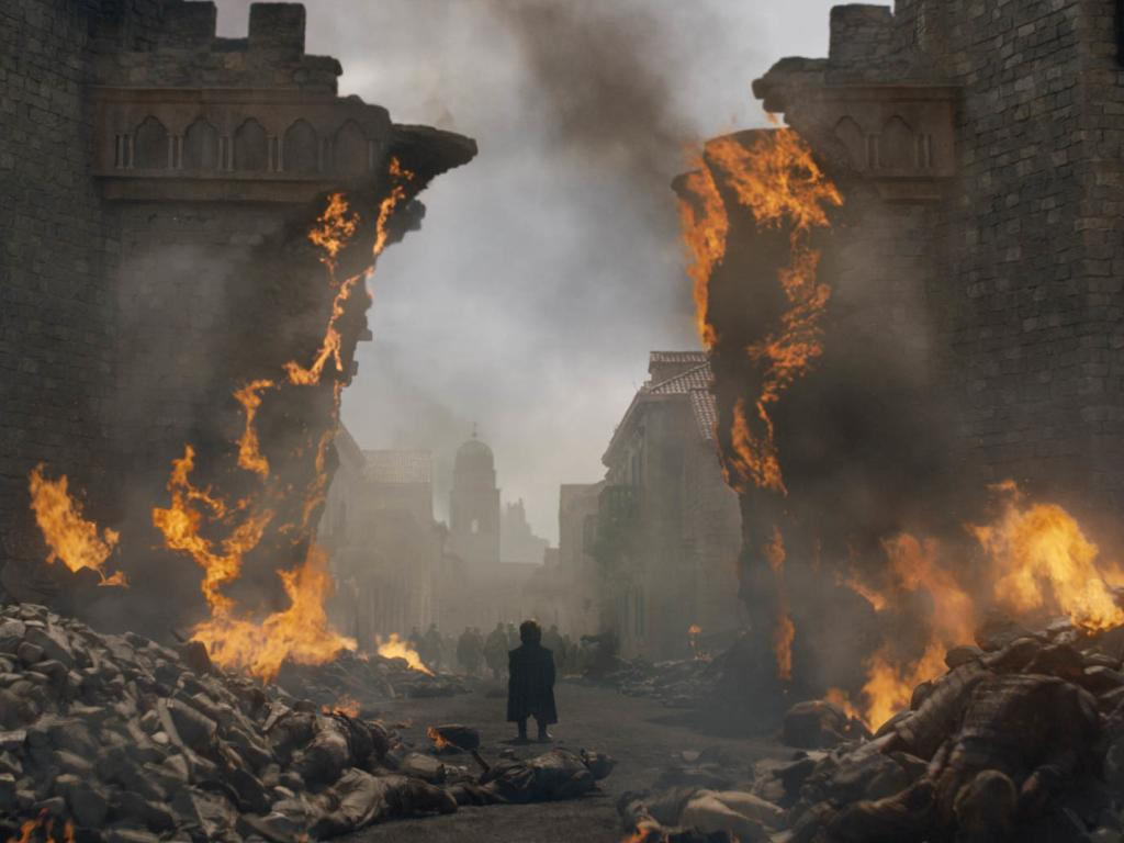 Tyrion Lannister (Peter Dinklage) surveys the wreckage of his childhood home. Picture: HBO