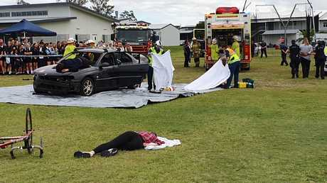 Students were confronted with a mock car crash at Ormeau Woods High School