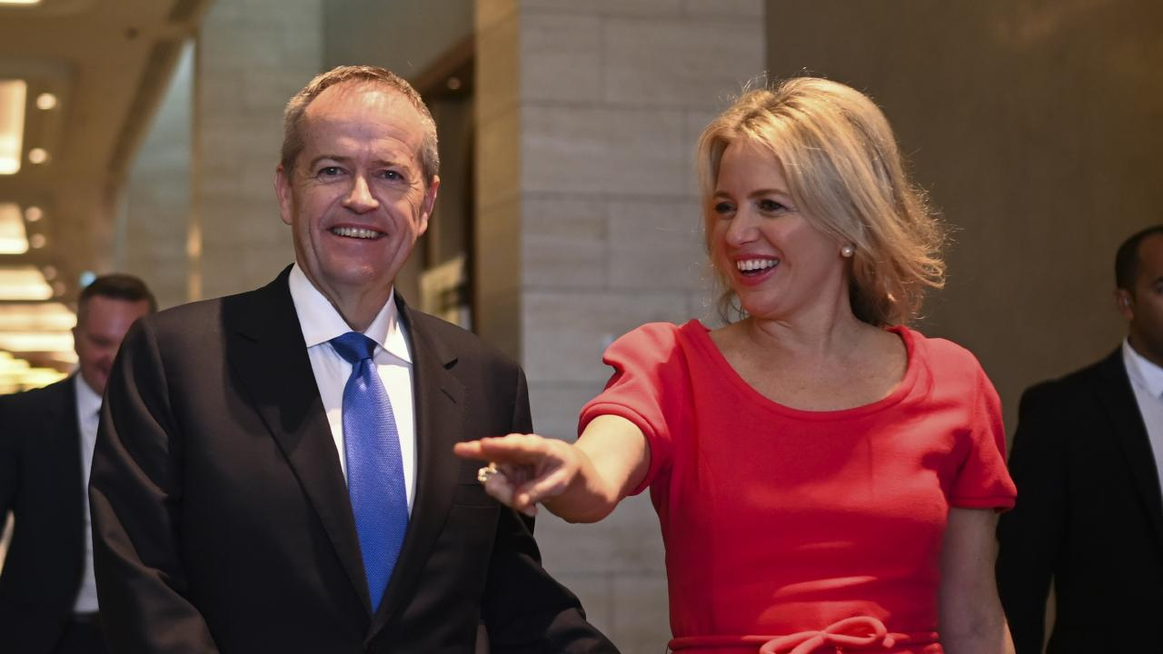 Shorten and his wife Chloe after attending a Leadership Matters breakfast in Perth. Picture: AAP/Luke Coch