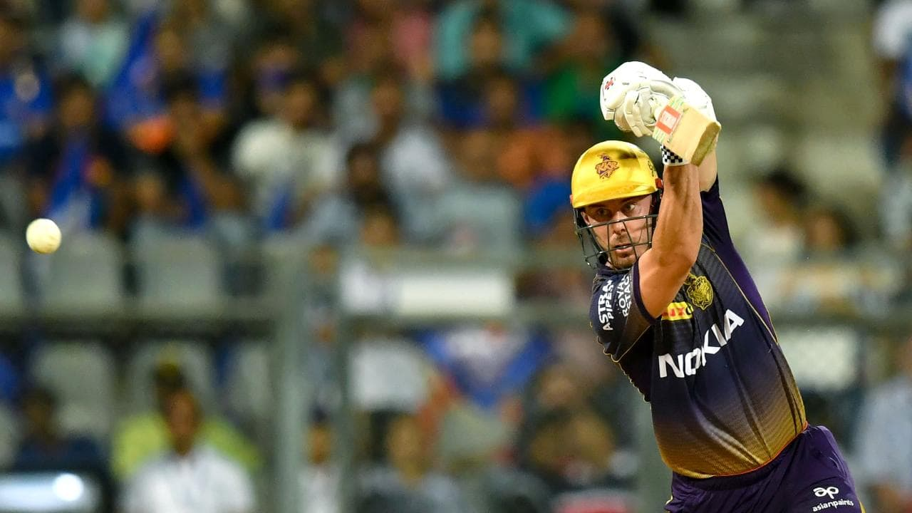 Kolkata Knight Riders batsman Chris Lynn plays a shot during the 2019 Indian Premier League (IPL) Twenty20 cricket match between Mumbai Indians and Kolkata Knight Riders at the Wankhede Stadium in Mumbai on May 5, 2019. (Photo by PUNIT PARANJPE / AFP) / ----IMAGE RESTRICTED TO EDITORIAL USE - STRICTLY NO COMMERCIAL USE-----