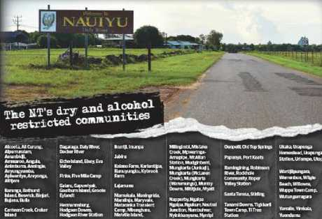 Graphic of where dry and alcohol restricted communities are in the NT.
