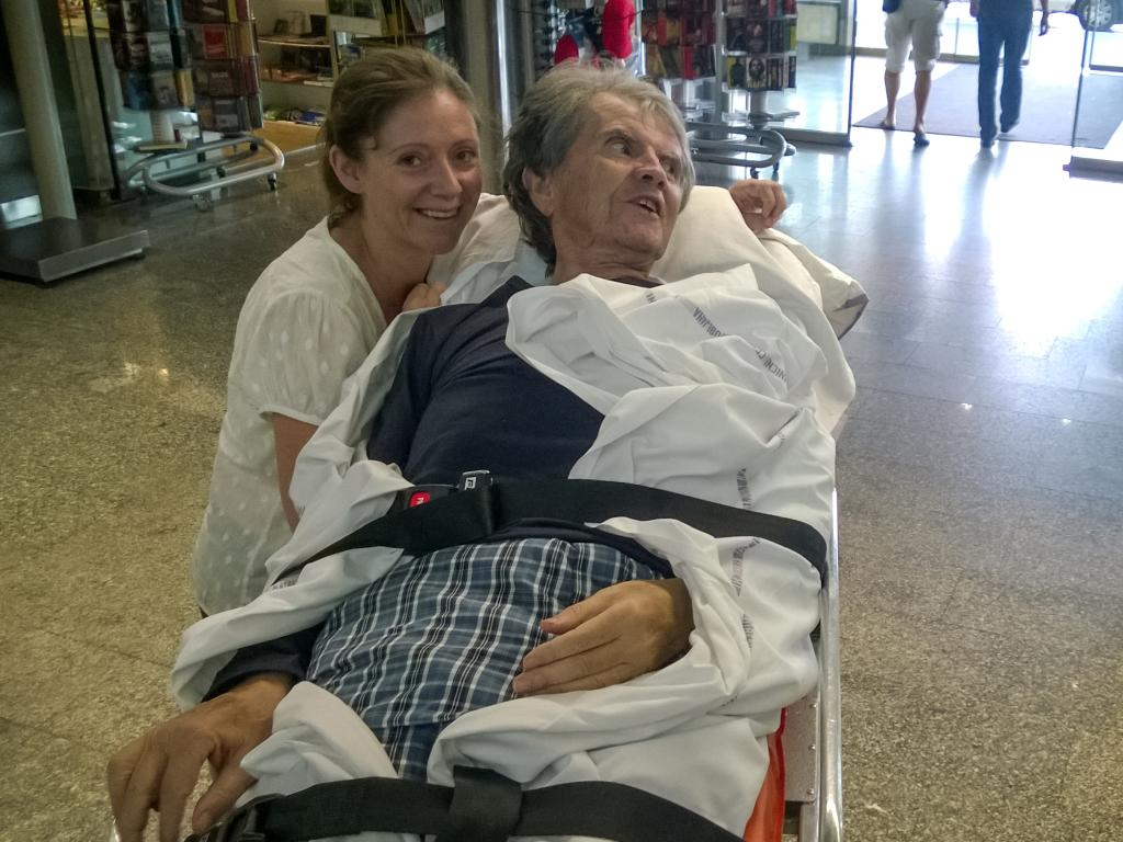 Bernadette Smon with father John Rose at Ljubljana Airport. Picture: Supplied