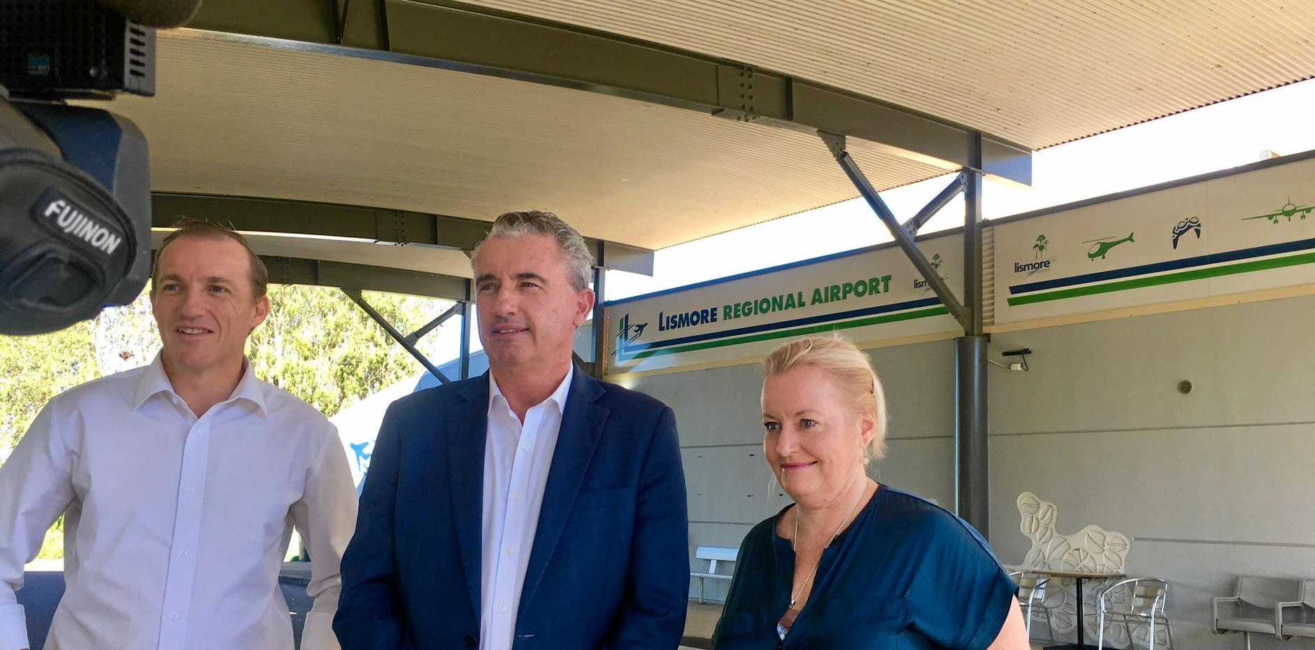 BOOST: Kevin Hogan with Isaac Smith and Shelley Oldham from Lismore City Council announce Lismore Airport is to get $4.5million investment.