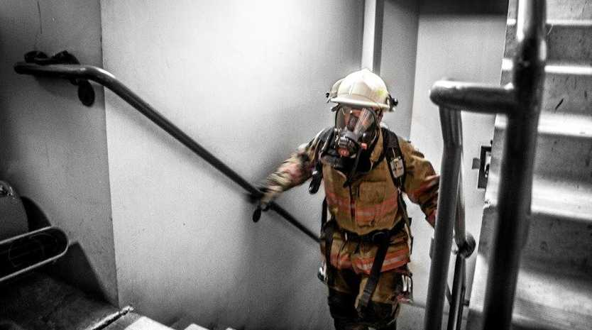 FIT: Scott Mounter and David Laarhoven from 257 Coffs Harbour Fire and Rescue NSW will tackle the Firefighter Sky Tower Stair Challenge.