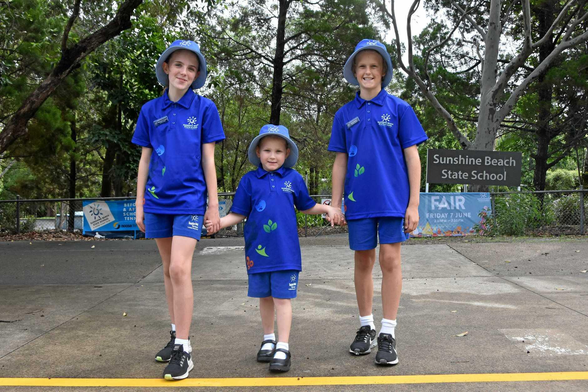 WALK TO SCHOOL: Sunshine Beach Primary students Makenzie Fraser, Addison Gers and Ben Moffat .