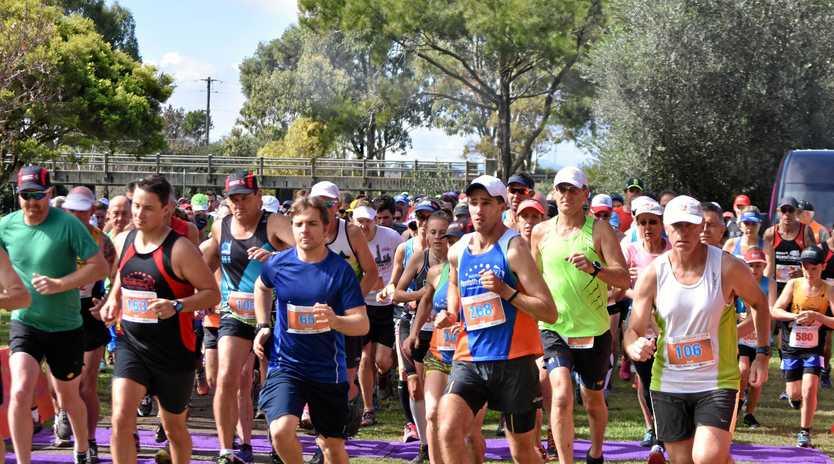 START: The runners half way in one 5km race from Sandy Creek Hotel in the annual Warwick Pentath-run.