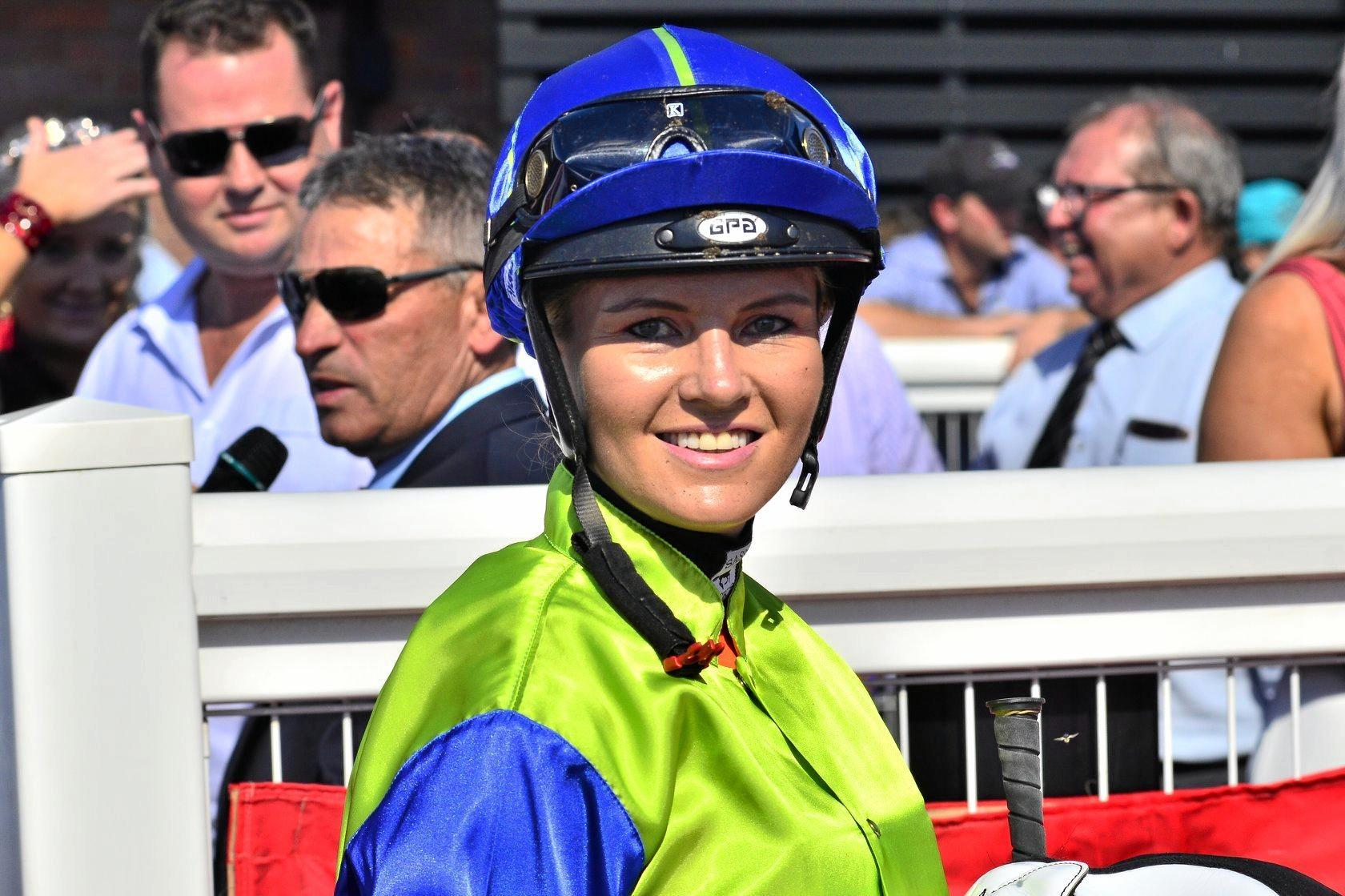 BACK ON SONG: Emma Ljung in the Clifford Park winner's stall after scoring aboard Rock Beat at last month's Weetwood meeting.