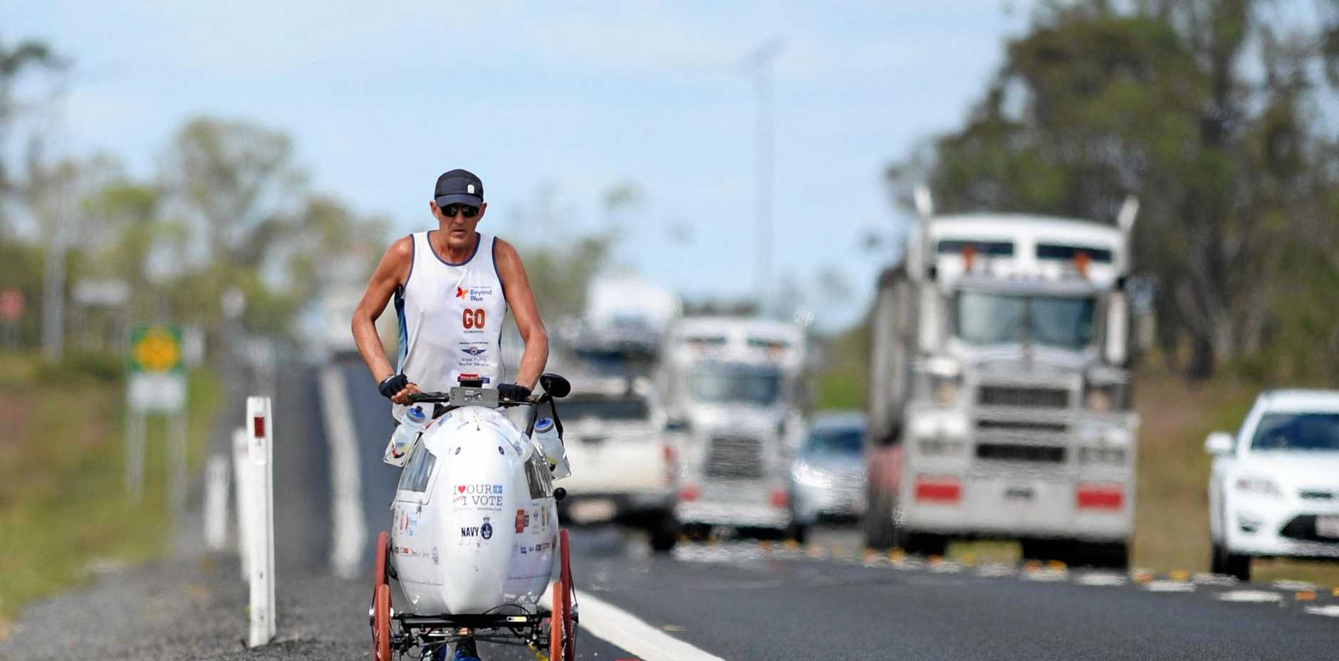 Melbourne's Andre Jones, 57, began his Run Around Australia for charity on March 10 and is aiming to become the first person in history to achieve the feat unassisted by a support vehicle.
