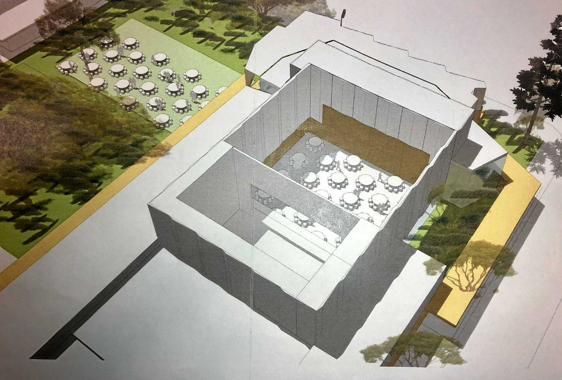 MULTI PURPOSE: The proposed design includes retractable seating, which will allow for the auditorium so host banquets and functions. Pictured is the auditorium in 'banquet mode'.
