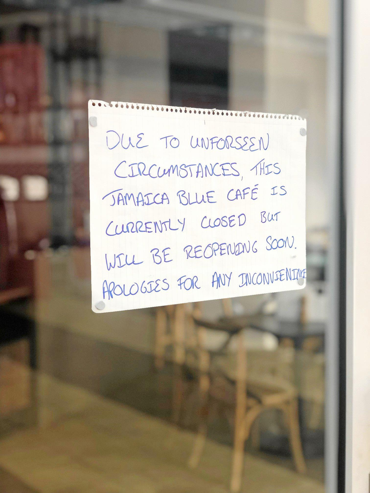 Closure sign on the door of Jamaica Blue at Riverlink on May 16 2019
