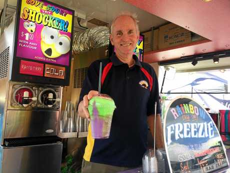 Peter Barton is cooling down punters with his frozen soda creations at his Rainbow Freezie van.