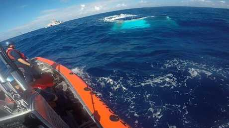 The catamaran sunk off the coast of Florida in May 2017. Picture: US Coast Guard.