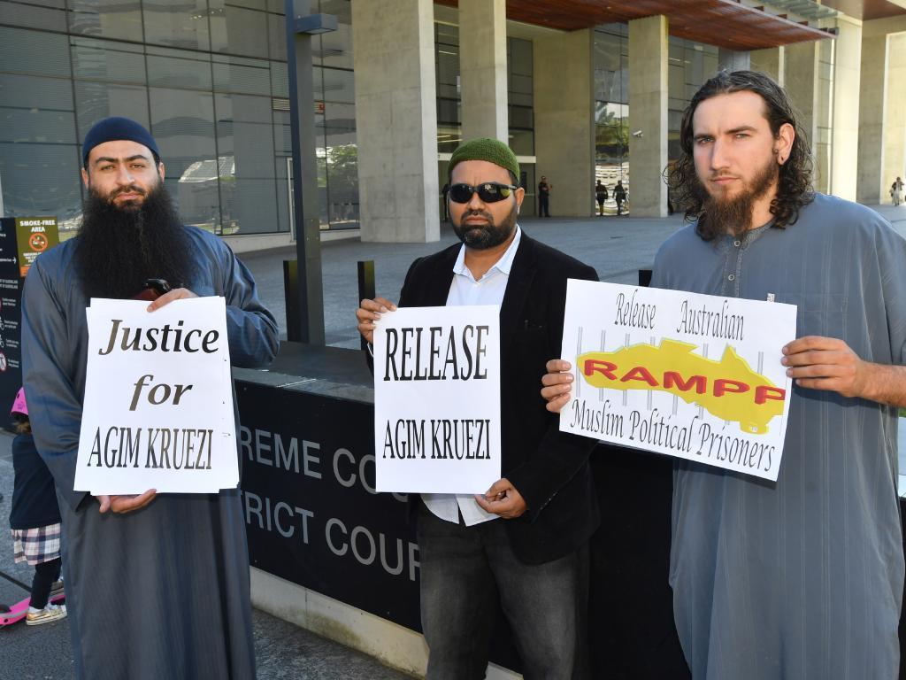 Supporters of Agim Kruezi outside the Brisbane Supreme Court last year. Picture: AAP Image/Darren England