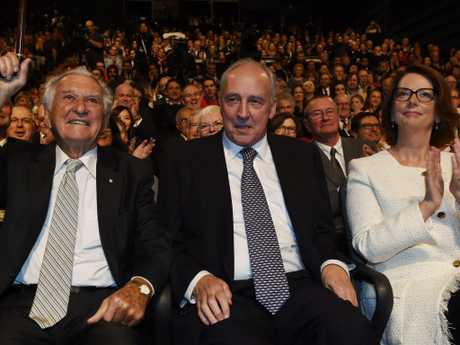 Bob Hawke with Paul Keating and Julia Gillard in 2016.