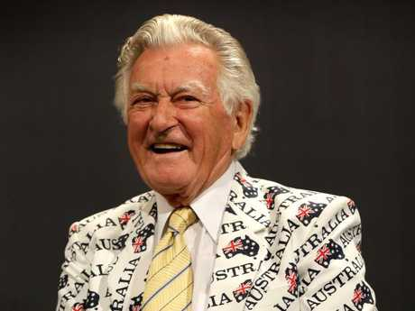 Bob Hawke during a luncheon to commemorate the 30th Anniversary of Australia II's America's Cup victory in 1983. Hawke wore the same jacket he wore on the day of the win.  Picture: Gregg Porteous