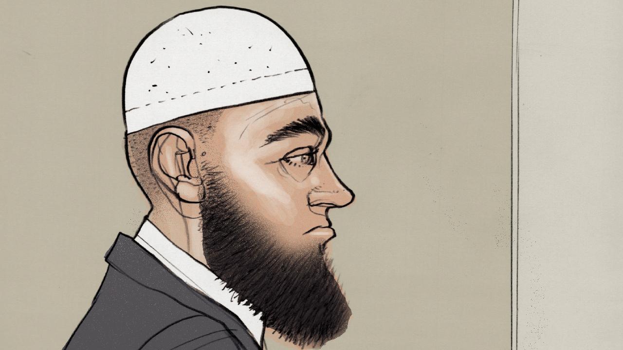 Court drawing of Agim Kruezi during his sentencing. Picture: Brett Lethbridge